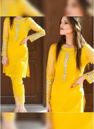 Splendid Bright Yellow Georgette Base Mirror Work Pant Style Suit