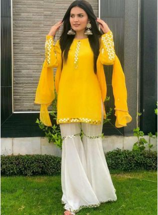 Sunny Yellow Georgette and Foil Print Sharrara Suit