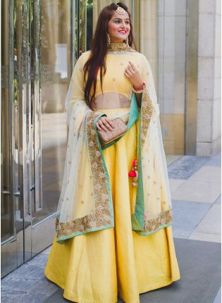 Classy Light Yellow Plan Lehenga Choli for Haldi Ceremony