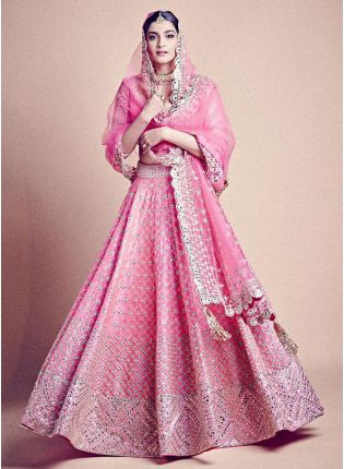 Beautiful Baby Pink Color Silk Base Lehenga Choli With Matching Blouse