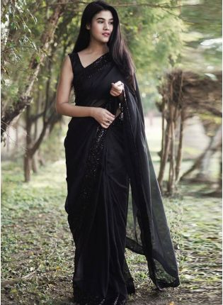 Shimmer Black Bling Partywear Evening Saree