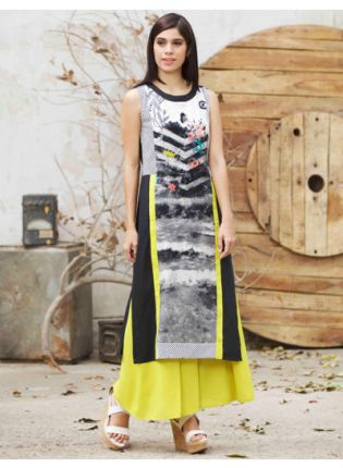 Black Color Digital Printed Crepe Base Long kurta
