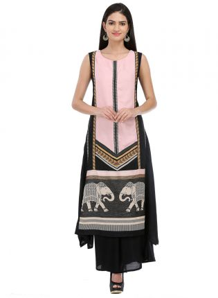 Peach And Black Printed Long kurta