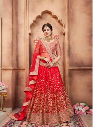 Party Wear Red Color Designer Soft Net Base Lehenga Choli