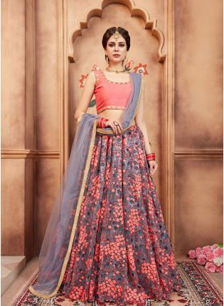 Trendy Grey Color Soft Net Base Designer Party Wear Lehenga Choli
