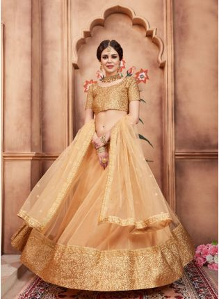 Delightful Beige Color Party Wear Soft Net Base Flared Lehenga Choli