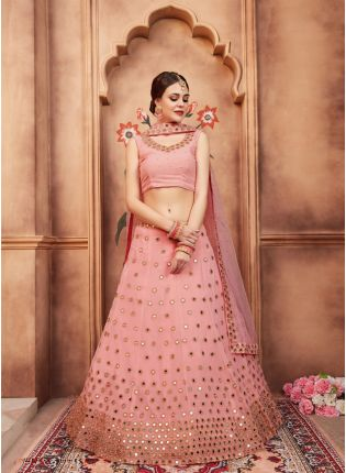 Stylish Peach Color Georgette Base Mirror Work Lehenga Choli