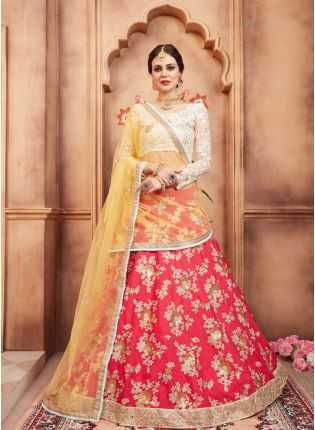 Admirable Pink Color Tafetta Silk Base Embroidred Designer Lehenga Choli