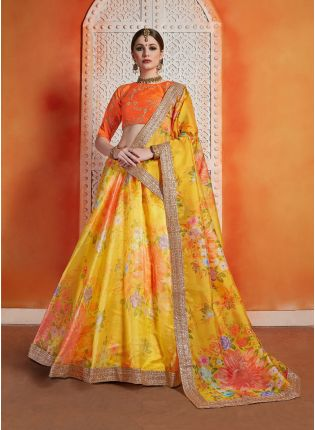 Lemon Yellow Color Designer Oraganza Base Printed Lehenga Choli
