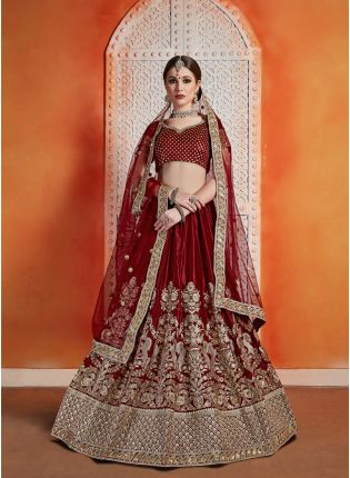 Mind Blowing Maroon Color Velvet Base Heavy Embroidered Lehenga Choli