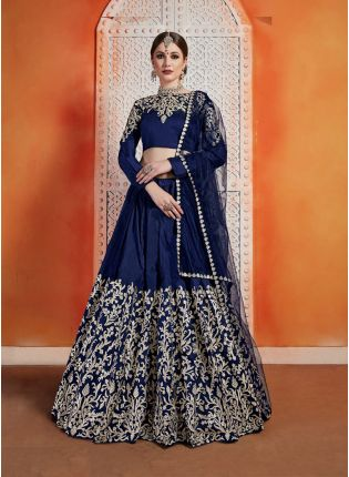 Designer Navy Blue Color art Silk Base Embroidered Designer Lehenga Choli