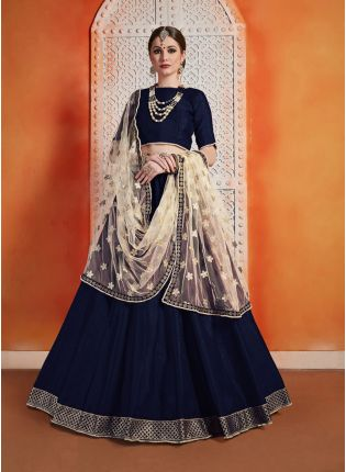 Designer And Trendy Navy Blue Color Art Silk Base Zari Work Lehenga Choli