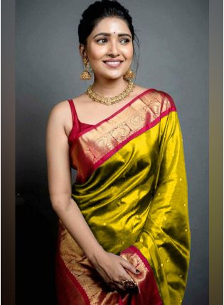 Traditional Look Golden Yellow Color Art Silk Base Wedding Wear Saree With Contrast Blouse
