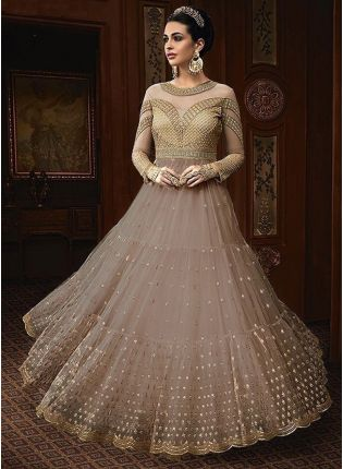 Light Grey Color Party Wear Designer Soft Net Base Anarkali Style Suit