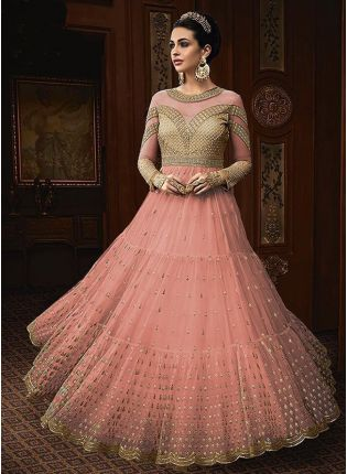 Peach Color Party Wear Designer Soft Net Base Anarkali Style Suit