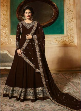 Georgette Base Party Wear Brown Color Heavy Embroidery Work Anarkali Suit