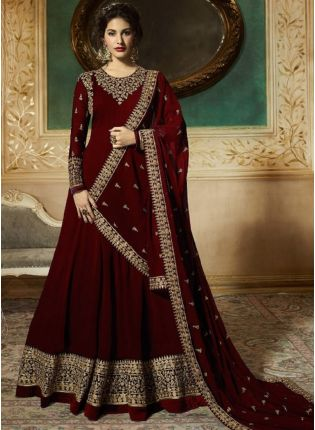 Georgette Base Party Wear Maroon Color Heavy Embroidery Work Anarkali Suit