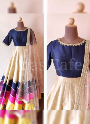 Classy navy Blue Color Party Wear Tafeeta Silk Base Designer Gown
