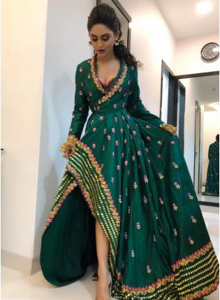 Stylish Wedding Special Embroidered Updown Style Green Gown