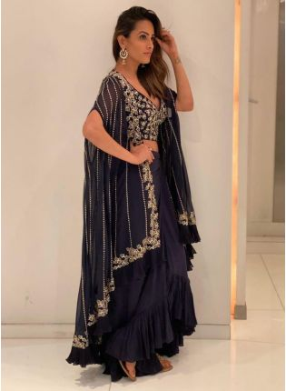 Dazzling Navy Blue Georgette Base Ruffled Lehenga Choli For Sangeet