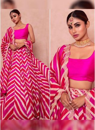 Pink Party Wear Taffeta Silk Based Digital Printed Lehenga Choli