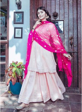 Fascinating Light Pink Butter Silk Base Umbrella Flare Sharara Suit