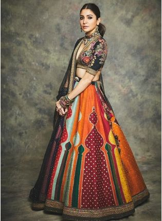 Multi color designer silk base dijital printed lehenag choli