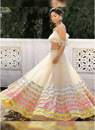 White Lace Zari And Soft Net Flared Lehenga Choli