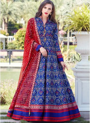Royal Blue Color Heavy Printed Silk Base Party Wear Gown