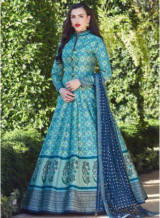 Turquoise Blue Color Heavy Printed Silk Base Party Wear Gown