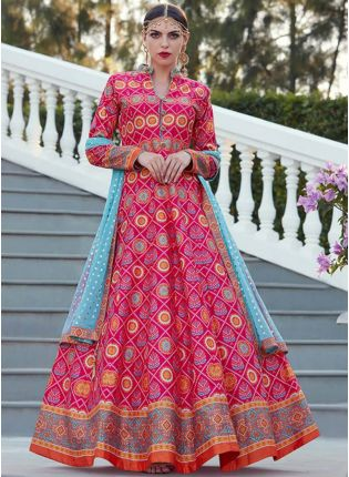 Designer Pink Color Heavy Printed Silk Base Party Wear Gown