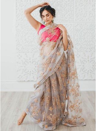 Grey Color Party Wear Soft Net Base Sequins Work Saree