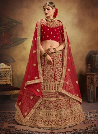 Brides Maid Red Velvet Base Heavy Embroidered Lehenga Choli
