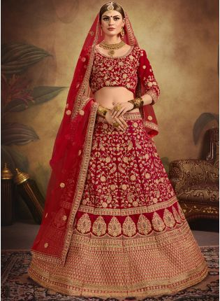 Red Color Designer Embroidered Bridal Wear Lehenga Choli