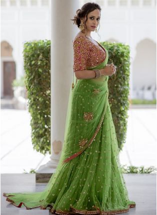 Pistachio Color Party Wear Soft Net Heavy Worked Base Saree