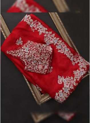 Adorable Red Stone and Reshma Work Saree