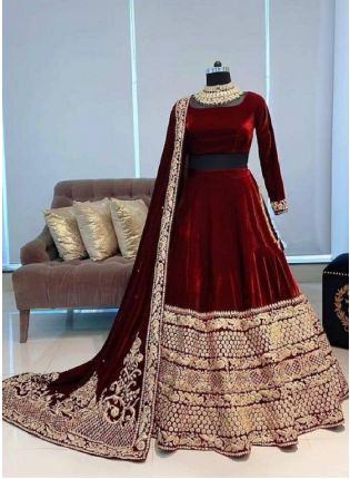 Royal Maroon Moti Zari Velvet Flared Lehenga Choli Set