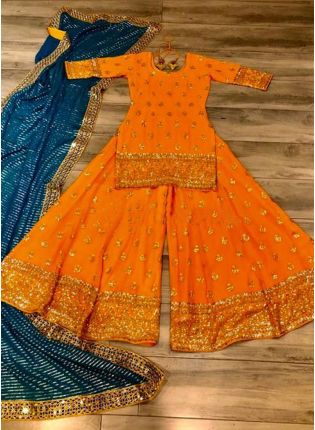 Stunning Orange Georgette Palazzo Salwar Suit