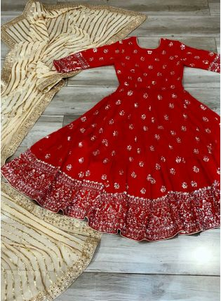 Breathtaking Red Georgette Anarkali Suit