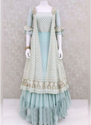Designer Sea Green Color Georgette Base Party Wear Gown With Dupatta