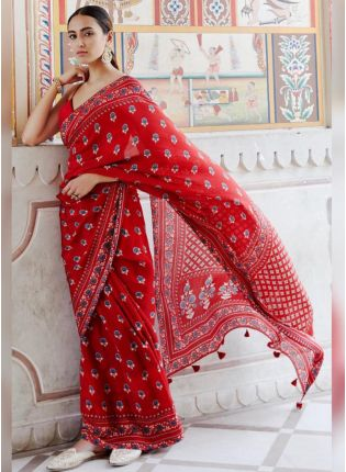 Stunning Ruby Red Chiffon Base Digital Printed Saree