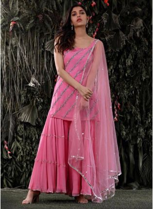 Spectacular Deep Pink Georgette Festive Wear Designer Sharara Suit