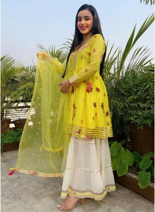 Ravishing Yellow Color Resham Work Sharara Suit