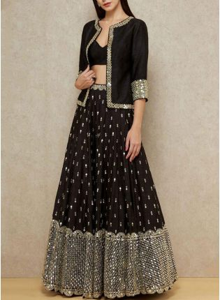 Charming Black Georgette Base Wedding Special Sequin Lehenga Choli