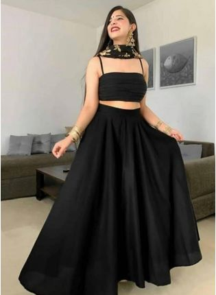 Metal Black Tafetta Silk and Zari Lehenga Choli