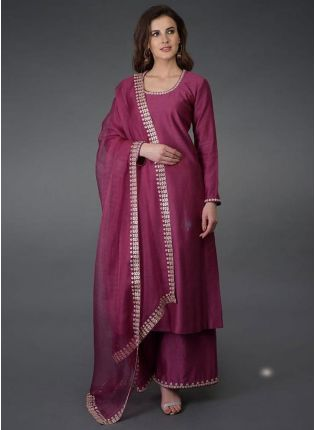 Eye-Captivating Wine Color Pure Cotton Base Palazzo Suit