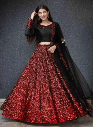 Red Sequins And Velvet Soft Net Flared Lehenga Choli