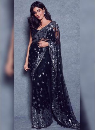 Black Sequin Soft Net Embroidered Bollywood Saree For Reception