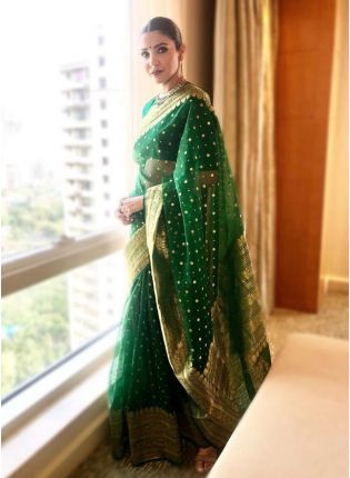 Green Silk Weave Ceremonial Bollywood Saree