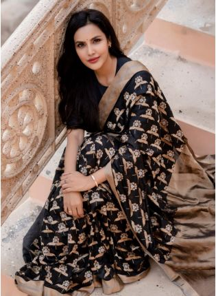 Admirable Black Banarasi Silk Base Woven Designer Saree